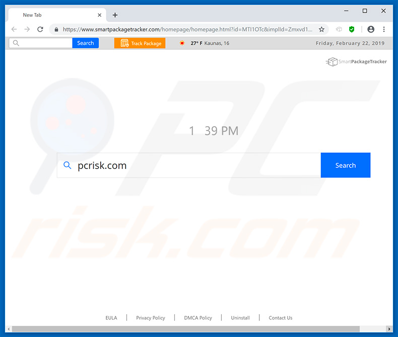 smartpackagetracker.com browser hijacker