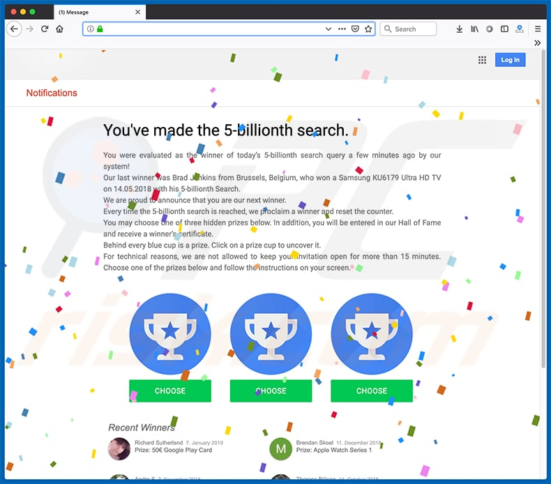 You've Made The 5-billionth Search scam