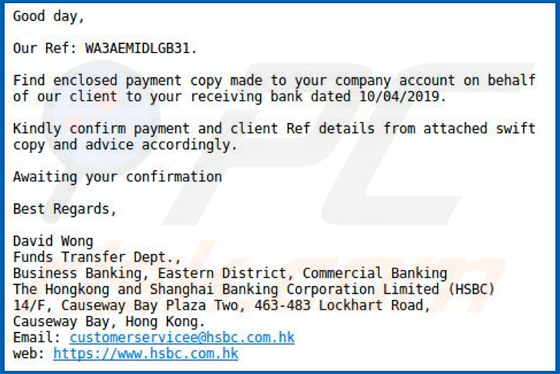 A variant of HSBC email virus
