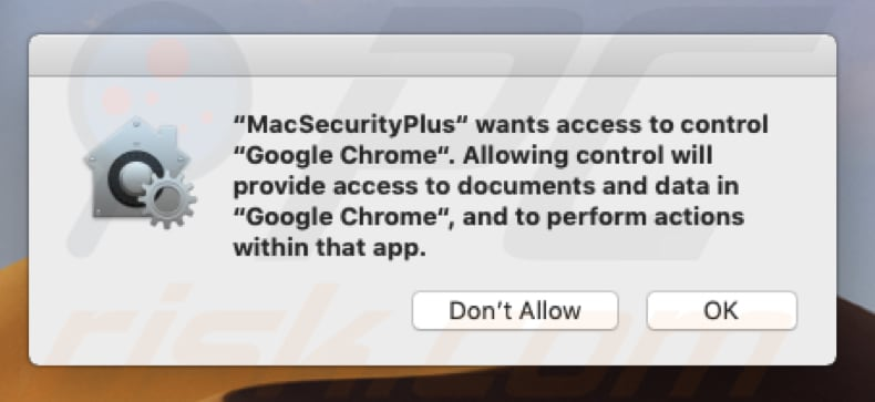 mac security plus wants to control browser