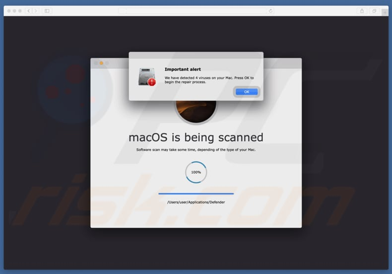 Your Mac is infected with 4 viruses scam
