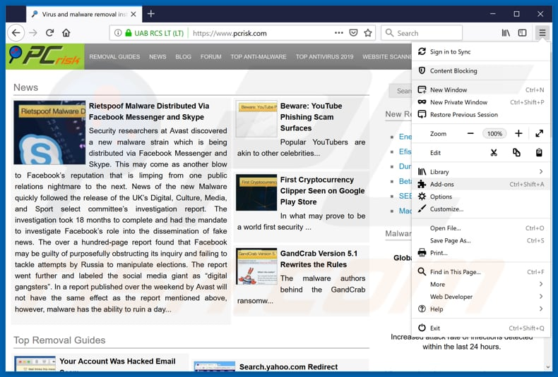 Removing Zippyshare ads from Mozilla Firefox step 1