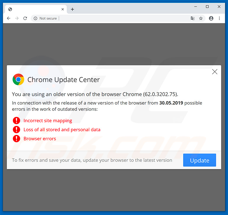 Website encouraging visitor to update Google Chrome web browser