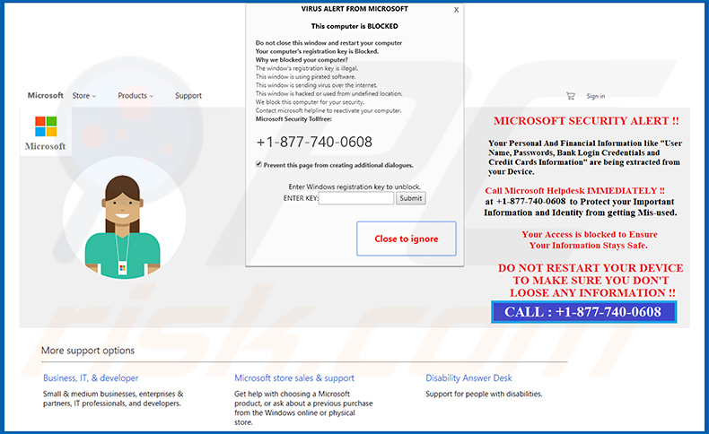 Microsoft Security Alert pop-up scam (sample 2)
