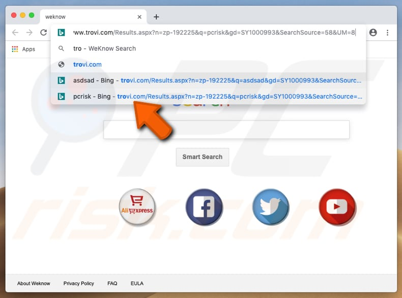 trovi.com browser hijacker on a Mac computer