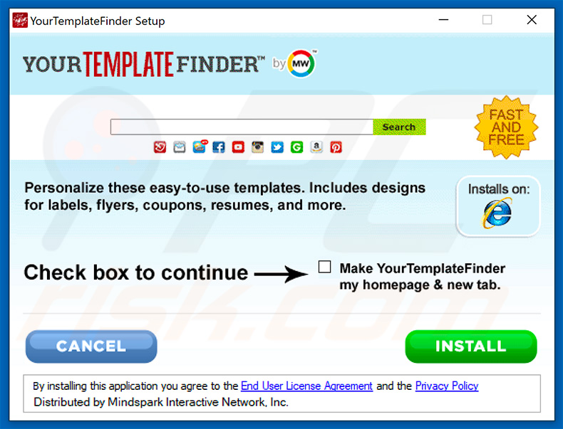 Official YourTemplateFinder browser hijacker installation setup