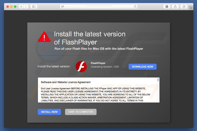 fake flash player promotes adware