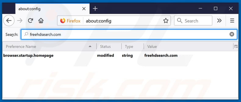 Removing freehdsearch.com from Mozilla Firefox default search engine