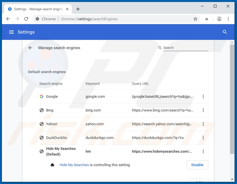 Removing hidemysearches.com from Google Chrome default search engine