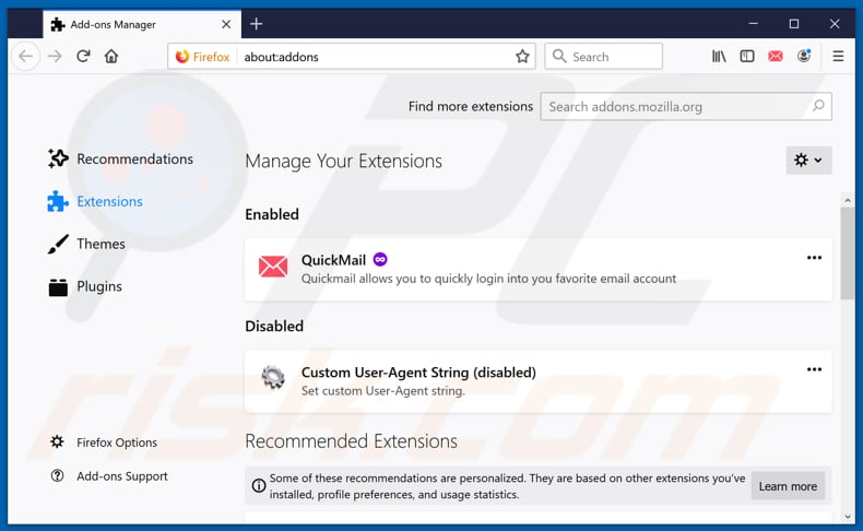 Removing hidemysearches.com related Mozilla Firefox extensions