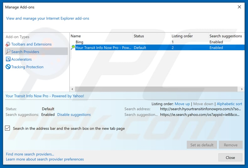 Removing hidemysearches.com from Internet Explorer default search engine