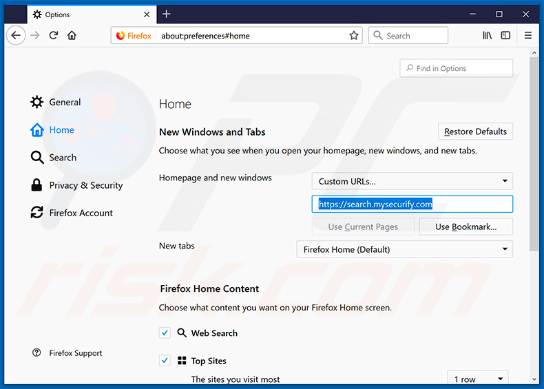 Removing search.mysecurify.com from Mozilla Firefox homepage