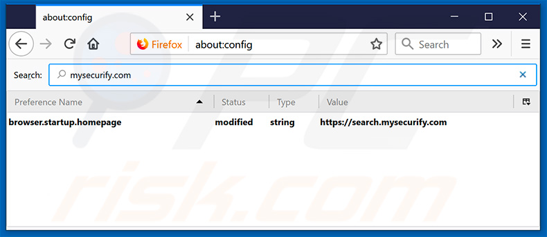 Removing search.mysecurify.com from Mozilla Firefox default search engine