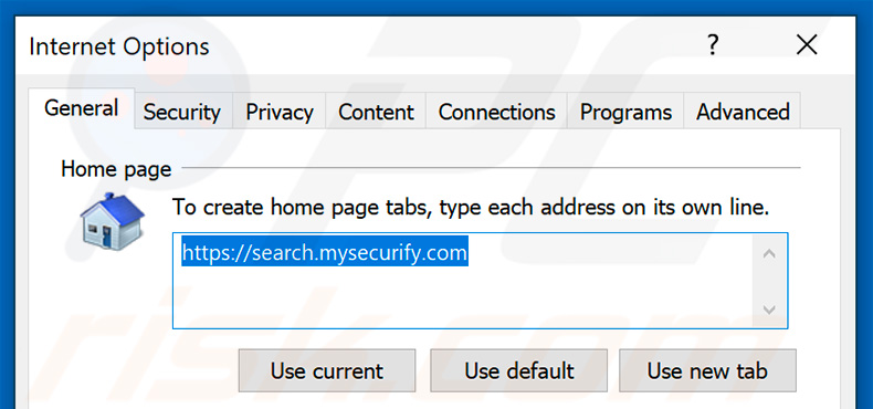 Removing search.mysecurify.com from Internet Explorer homepage