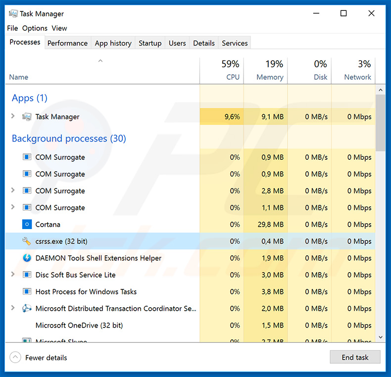 Glupteba trojan dropper in Windows Task Manager