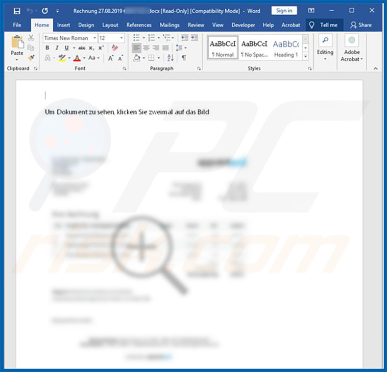 Malicious Microsoft Word document (email attachment) that injects Retefe trojan into the system