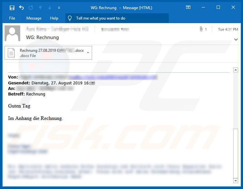 Email spam campaign used to spread Retefe trojan