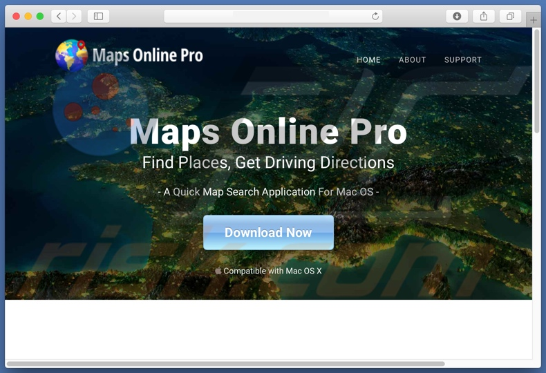 Dubious website used to promote search.mapsonlinepro.com