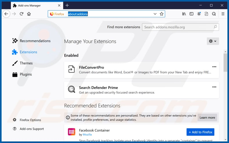 Removing fileconvertpro.co related Mozilla Firefox extensions