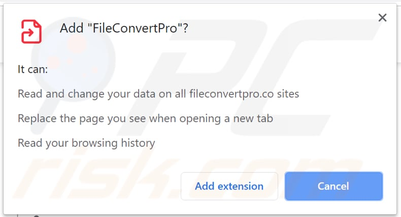 FileConvertPro asks for a permission to access data on chrome