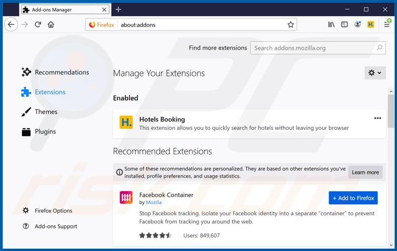 Removing ourflightsearch.com related Mozilla Firefox extensions