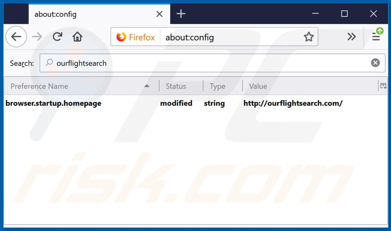 Removing ourflightsearch.com from Mozilla Firefox default search engine