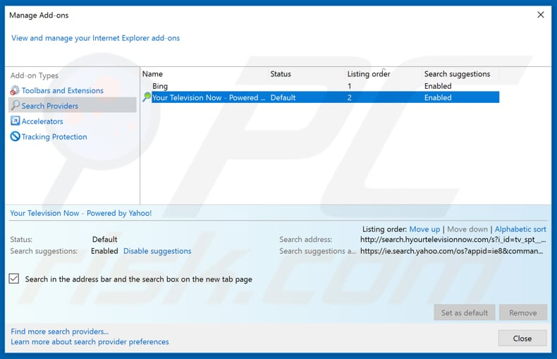 Removing ourflightsearch.com from Internet Explorer default search engine