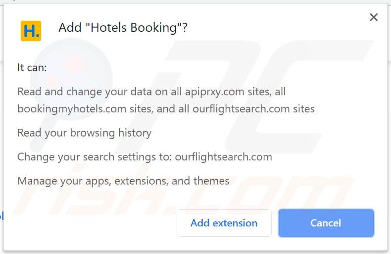 Hotels Booking wants to access various data on Chrome