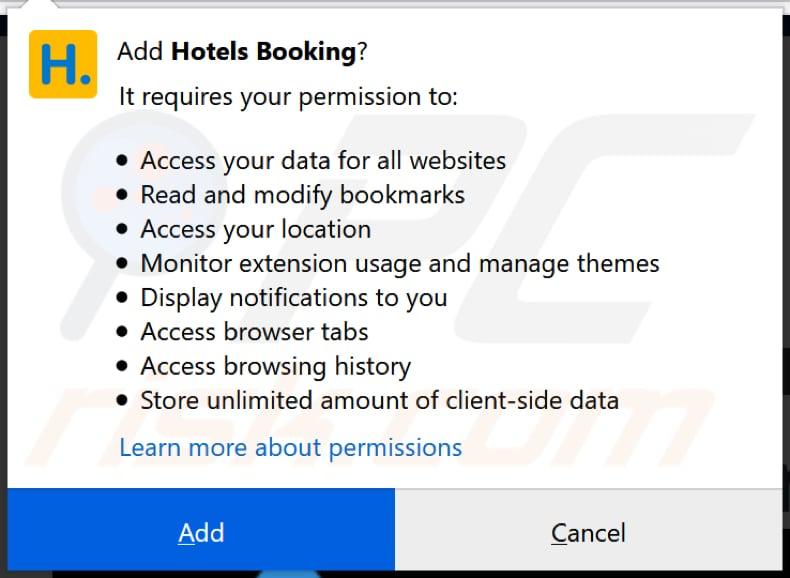 Hotels Booking wants to access various data on Firefox