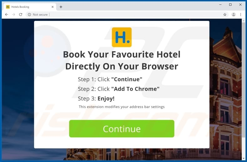 Website used to promote Hotels Booking browser hijacker