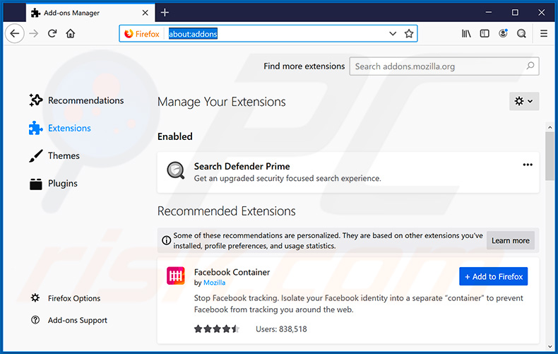 Removing searchdefenderprime.com related Mozilla Firefox extensions