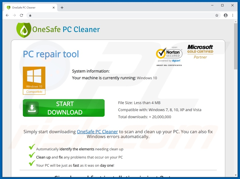 OneSafe PC Cleaner application