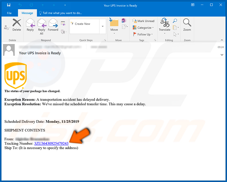 UPS email spam campaign spreading Emotet