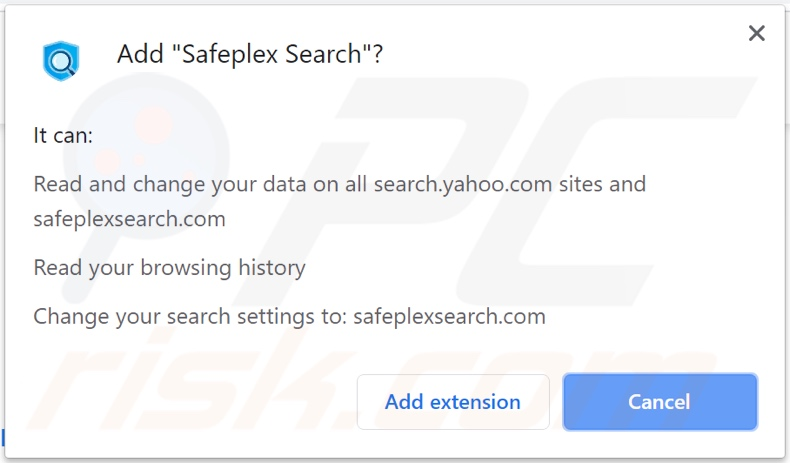 Safeplex Search browser hijacker asking for permissions (Chrome)