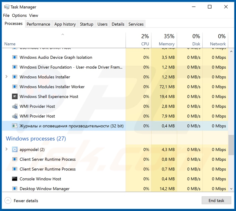 AZORult process on task manager