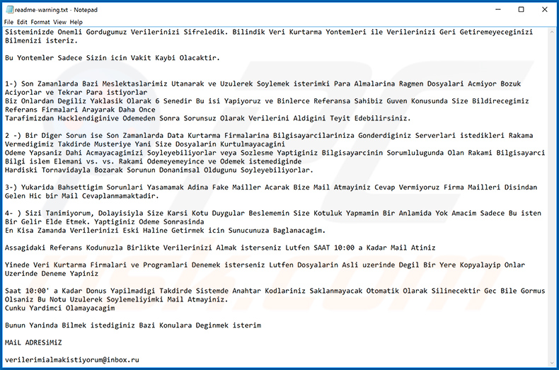 Makop ransomware Turkish ransom note