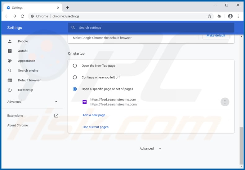 Removing feed.searchstreams.com from Google Chrome homepage