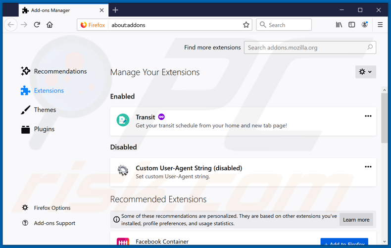 Removing unwanted Mozilla Firefox extensions