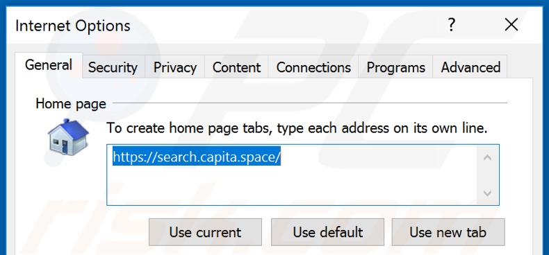 Removing search.capita.space from Internet Explorer homepage