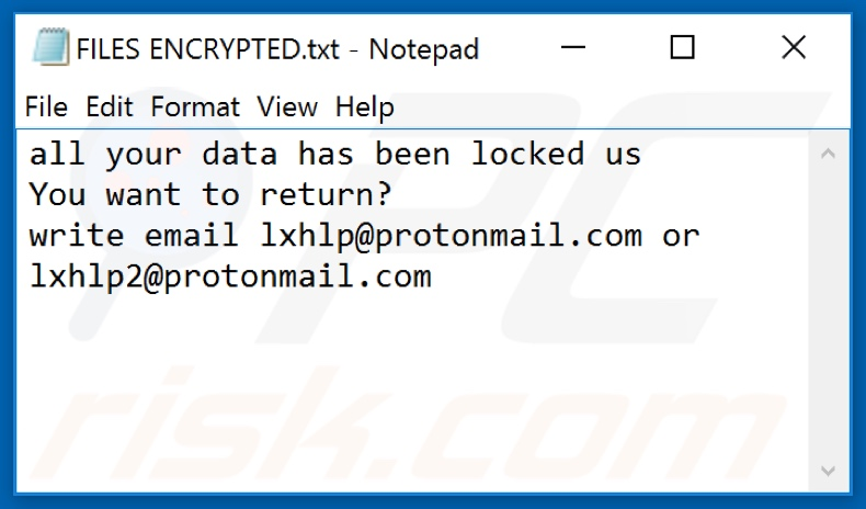 Lxhlp ransomware text file (FILES ENCRYPTED.txt)