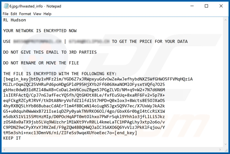 Ransom note of the second variant of WastedLocker ransomware