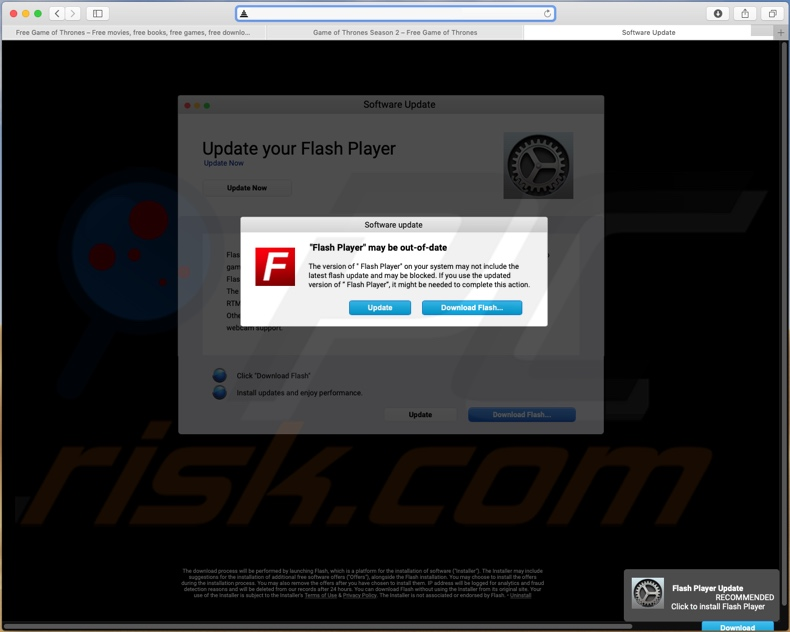 Example of a scam website promoting fake Flash Player installer