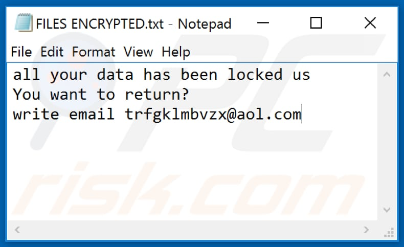 Mnbzr ransomware text file (FILES ENCRYPTED.txt)