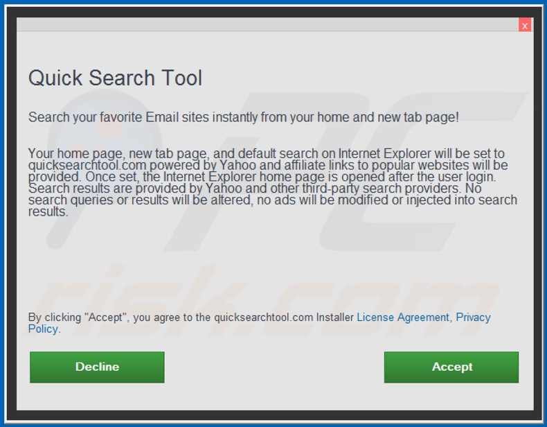 Offizielles Quick Search Tool Browserentführer Installations-Setup
