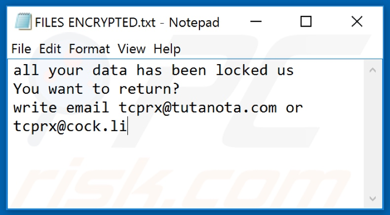 Tcprx ransomware text file (FILES ENCRYPTED.txt)