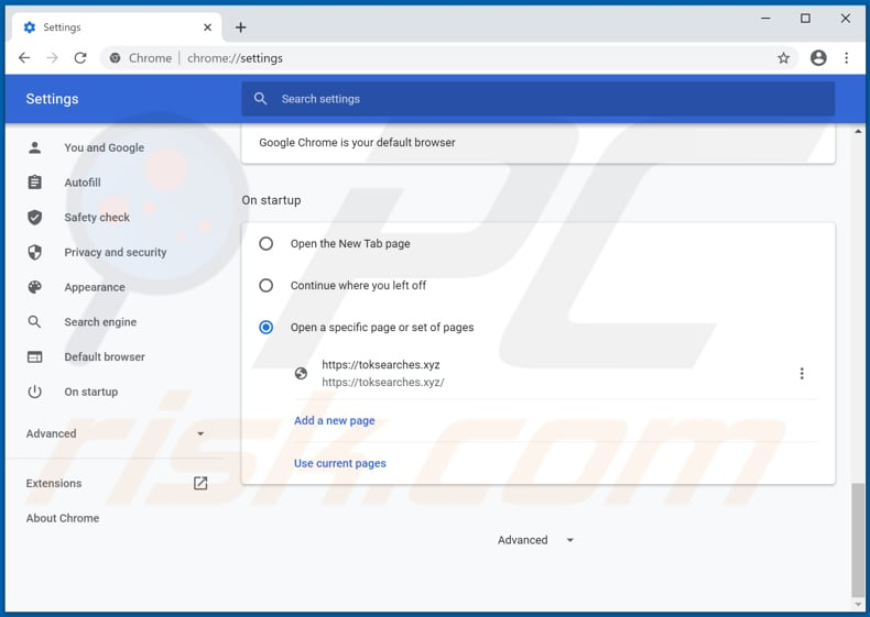 Removing toksearches.xyz from Google Chrome homepage