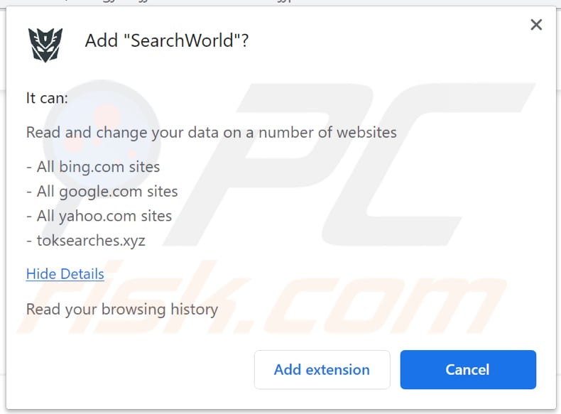 searchworld browser hijacker notification