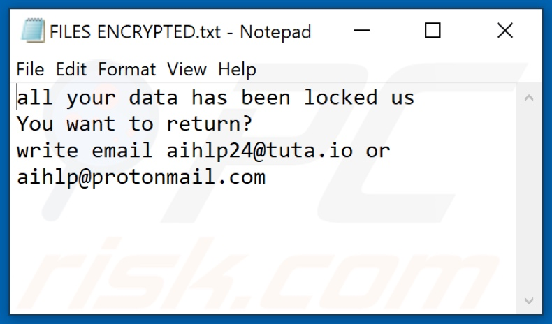 AHP ransomware text file (FILES ENCRYPTED.txt)