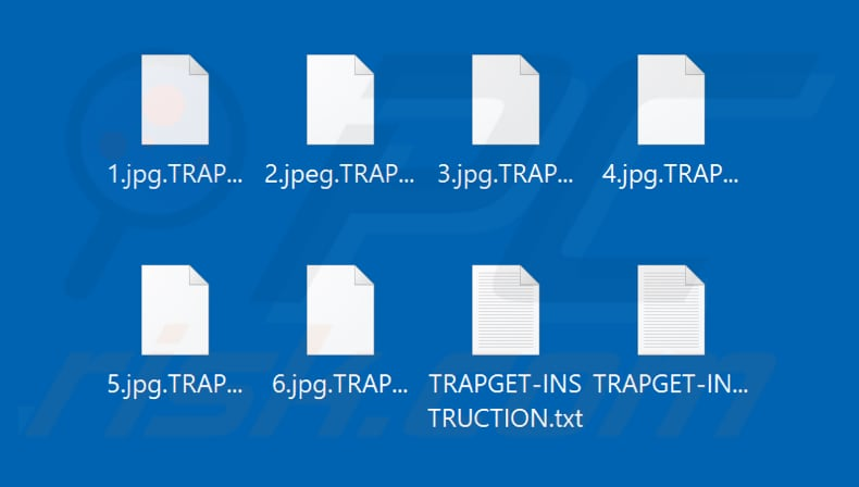 Files encrypted by TRAPGET ransomware (.TRAPGET extension)