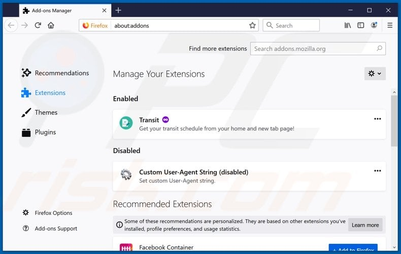 Removing WebNavigatorBrowser ads from Mozilla Firefox step 2
